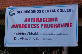 The young minds of St. Gregorios Dental College were enlightened about the evils of ragging and its consequences by Dr. Vikas Jindal, DCI member. The program was conducted on 16th December 2016.